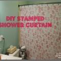 DIY Stamped Shower Curtain