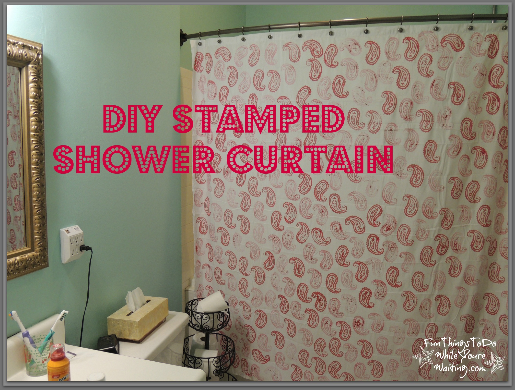 DIY Stamped Shower Curtain