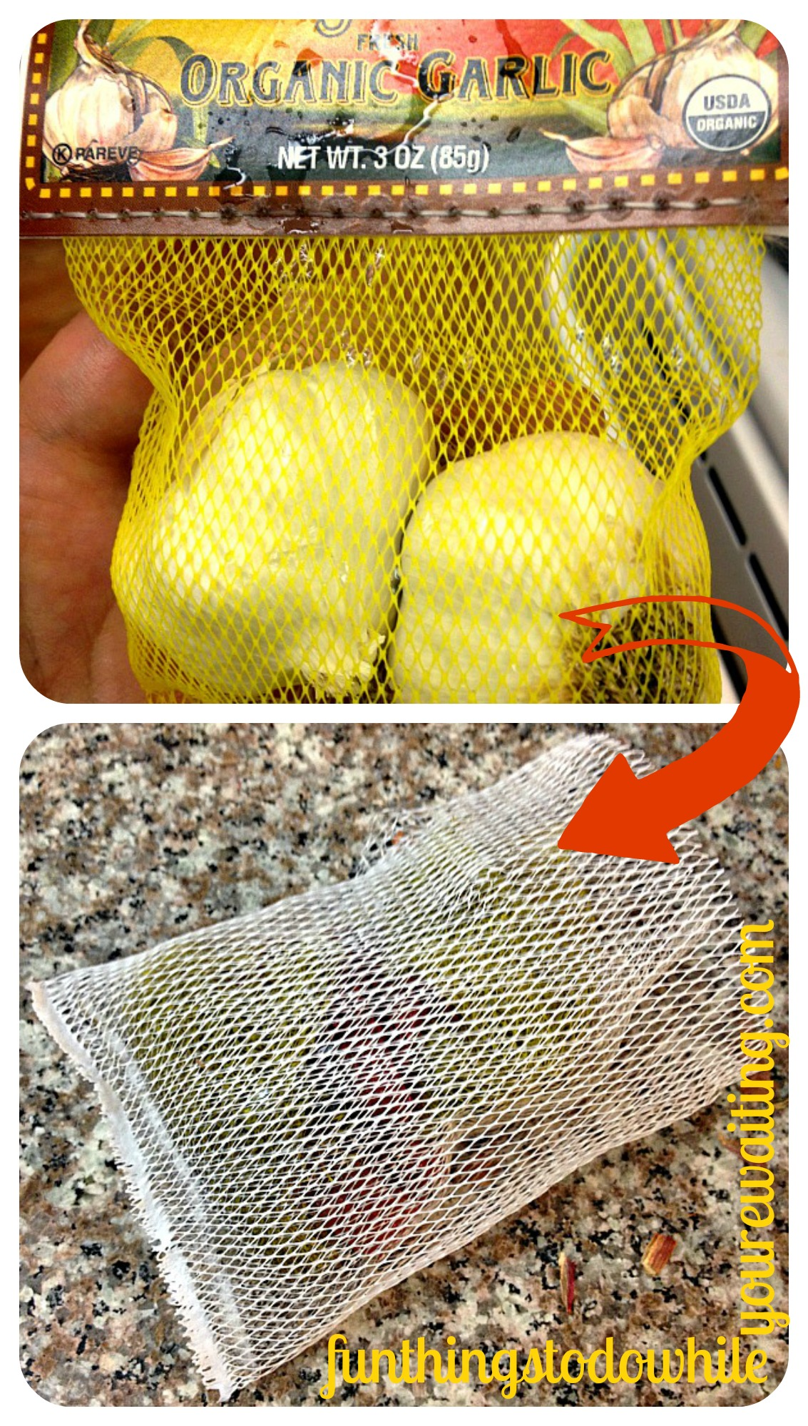 Turning Netted Produce bags into Dish Scrubbers.