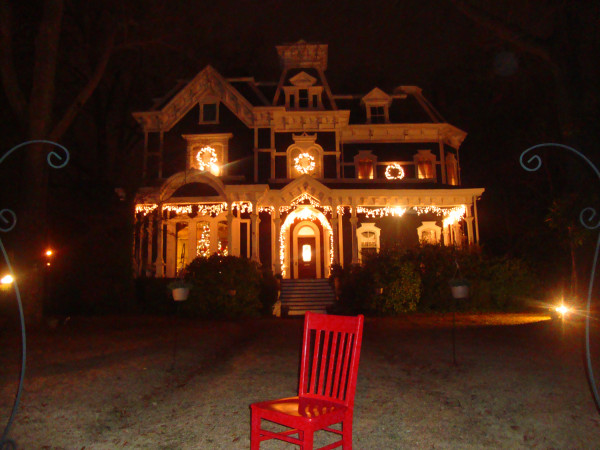 The Claremont House B & B dressed in holiday lights