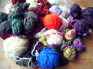 Representative bag of odd balls of yarn, one of like a dozen.