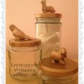 Gold Painted Animal Glass Jars