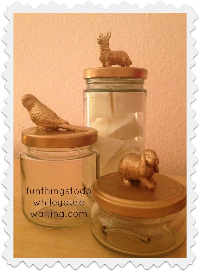 Gold Painted Animal Glass Jars
