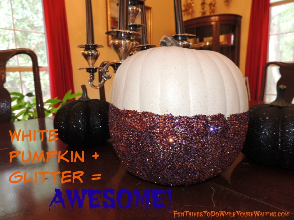 white pumpkin plus glitter