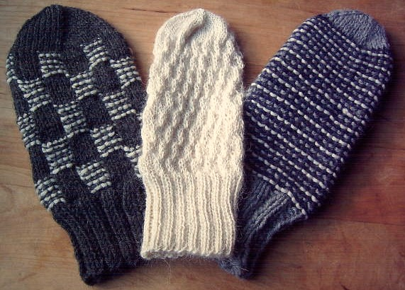 L to R, Blocked Stripe Mittens, Shadowbox Mittens, Garter Stripe Mittens