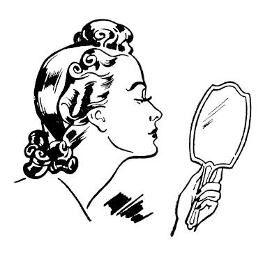 Mirror Image Retro Lady from Graphics Fairy.com