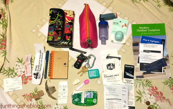 Here are the contents of my purse organized.