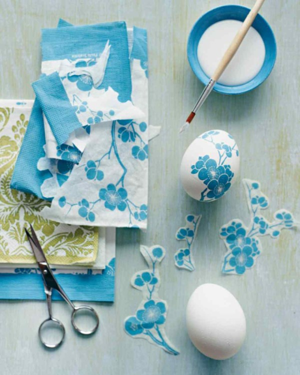 Use paper napkins to decoupage a blown-egg.