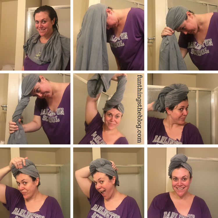 Curly hair hack, use a t-shirt as a towel to dry your hair.